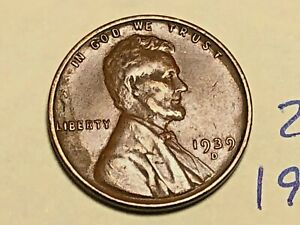 1939 D LINCOLN WHEAT CENT FINE PENNY 2671K