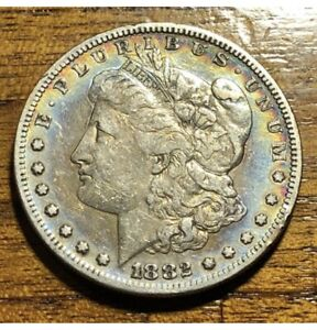 1882 S MORGAN DOLLAR RAINBOW TONED GRADED QUALITY   GREAT DETAILS  AMAZING A609