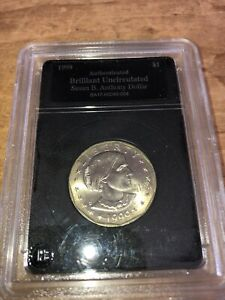 BRILLIANT UNCIRCUALTED SUSAN B. ANTHONY DOLLAR COIN SEALED AND CERTIFIED