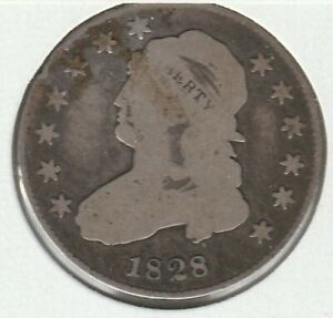 1828 GOOD G CAPPED BUST US SILVER QUARTER 25C