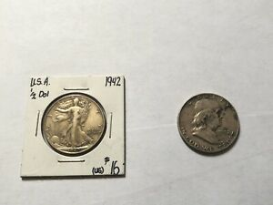 LOT OF 2: WALKING LIBERTY & BENJAMIN FRANKLIN 1942 & 1952 90  SILVER HALF DOLLAR