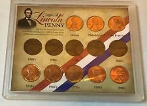 LEGEND OF THE LINCOLN PENNY 13 COIN COLLECTION IN CASE