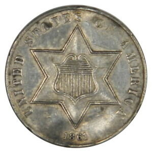 1861 3 THREE CENT SILVER   180 DEGREE ROTATED REVERSE   NICE AU/BU