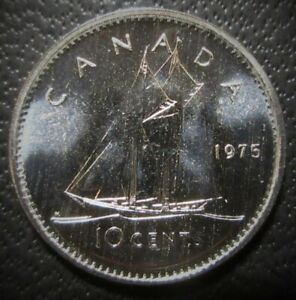1975 CANADA SPECIMEN 10 CENTS   UNCIRCULATED DIME FROM SET