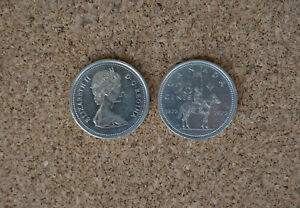 1973 MOUNTIE SET OF TWO CANADIAN QUARTER 25C CANADA COIN COMEMORATIVE RCMP