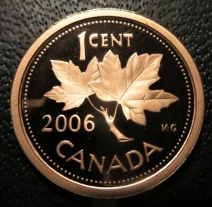 2006 CANADA 1 CENT PROOF   UNCIRCULATED NON MAGNETIC PENNY FROM MINT SET
