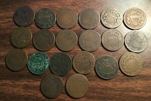 LOT OF 20: 2 CENT COPPER COINS: 14 1864 3 1865 2 1866 1871    [8006]