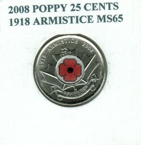 2008 POPPY 25 CENTS NICE COIN 1918 ARMISTICE UNCIRCULATED