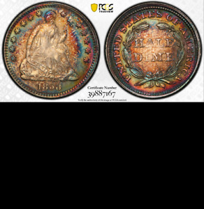 Click now to see the BUY IT NOW Price! 1858 PCGS MS64 COLORS  BEAUTIFUL STARS SEATED HALF DIME H10C