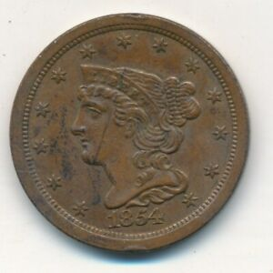 1854 BRAIDED HAIR HALF CENT MAGNIFICENT LIGHTLY HANDLED HALF CENT SHIPS FREE
