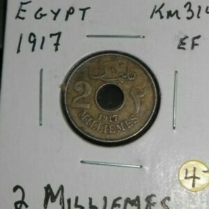 EGYPT 1917  2  HIGH GRADE 2 MILLIEMES COIN