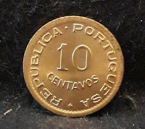 1949 PORTUGUESE ANGOLA  COLONY  10 CENTAVOS MOSTLY RED UNC KM 70  AN10   /N59