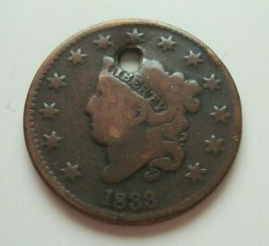 USA COIN 1833 CORONET HEAD LARGE CENT HOLED RED