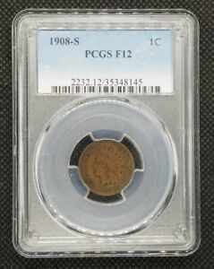 1908 S INDIAN HEAD CENT | PCGS F12