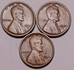 1921 S 1923 S 1924 S LINCOLN WHEAT CENT PENNY    3 COINS