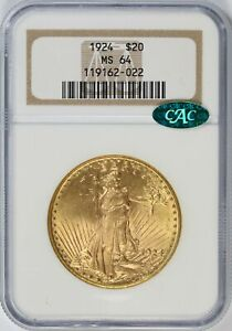 1924 GOLD SAINT GAUDENS $20 MOTTO DOUBLE EAGLE NGC CAC MS64