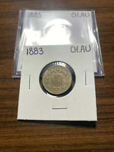 1883 P SHIELD NICKEL 5C CHOICE ALMOST UNCIRCULATED  CH.AU  TYPE 2 NO RAYS