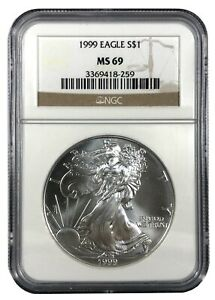 1999 UNITED STATES 1OZ SILVER EAGLE   NGC MS69