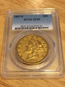 1867 S $20 PCGS XF45 LIBERTY DOUBLE EAGLE GOLD COIN EYECLEAN GOOD DETAILS