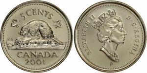 CANADA 2001 5 CENTS FIVE CENTS CANADIAN NICKEL UNC