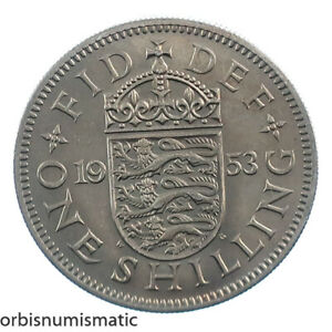 1953 UK GREAT BRITAIN GB 1 SHILLING ELIZABETH SHIELD UNCIRCULATED UNC COIN Z715