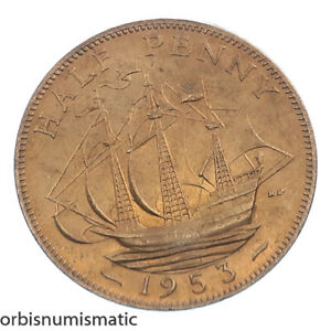 1953 UK GREAT BRITAIN GB 1/2 HALF PENNY ELIZABETH II SHIP BOAT A/UNC COIN Z718