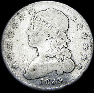 1834 CAPPED BUST QUARTER DOLLAR        NICE DETAILS TYPE COIN       F886