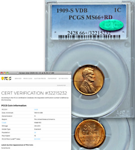 Click now to see the BUY IT NOW Price! 1909 S VDB PCGS MS66  RED CAC  TOP 10  OF THE GRADE  KEY LINCOLN CENT WHEAT 1C
