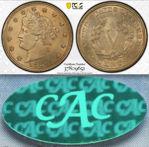 Click now to see the BUY IT NOW Price! 1886 PCGS MS64 CAC REPUNCHED DATE NOTED ON PCGS INSERT  KEY LIBERTY NICKEL V 5C