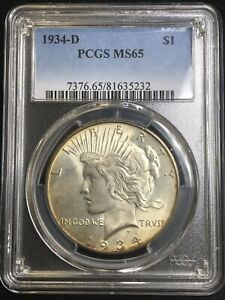 Click now to see the BUY IT NOW Price! 1934 D PEACE SILVER DOLLAR PCGS MS65