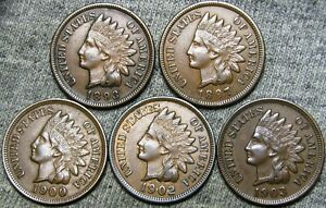 1893 1897 1900 1902 1903 INDIAN CENT PENNY     STUNNING LOT     D429
