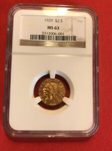 $ 2.5 1929 INDIAN GOLD NGC MS 63