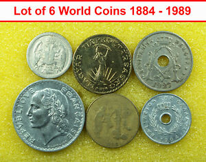 00776 LOT OF 6 WORLD COINS 1884 1989 SERBIA CENTRAL AFRICA GREECE FRANCE BELGIUM