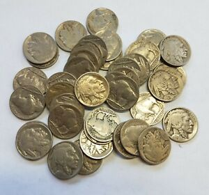 1 ROLL MIXED 1920'S CIRCULATED FULL DATE BUFFALO NICKELS SOME W/ MM  40   COINS