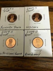 2009 S LINCOLN PENNY SET GEM PROOF 4 COIN SET FROM THE MINT NO BOX COA OR CASE