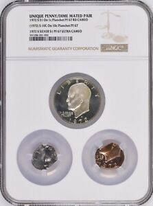 Click now to see the BUY IT NOW Price! 1972 S PROOF IKE $1 MATED PAIR ON 1C PLAN & 10C PLAN NGC PF 67 UNIQUE DISCOVERY