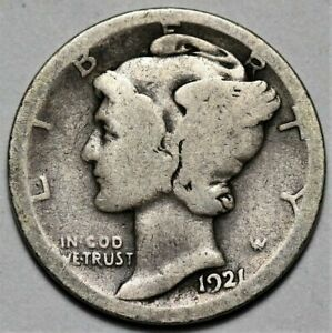 1921 D MERCURY DIME  >> US 10C SILVER COIN <<  FLAT RATE SHIPPING   LOT 920