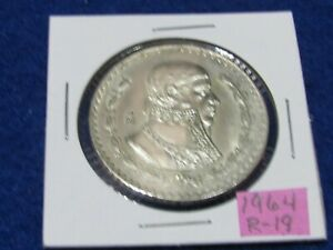 LARGE MEXICAN SILVER COIN 1964 MORELOS SILVER PESO  COMBINE SHIPPING SAVE $$$$
