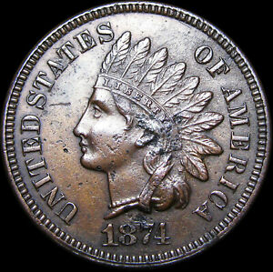 1874 INDIAN CENT PENNY      NICE DETAILS        D611