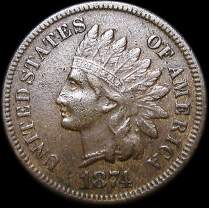 1874 INDIAN CENT PENNY      NICE DETAILS        D612