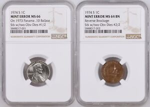 Click now to see the BUY IT NOW Price! UNIQUE 1974 S LINCOLN CENT MATED PAIR STRUCK BY 2 U.S. CENT OBVERSE DIES NGC