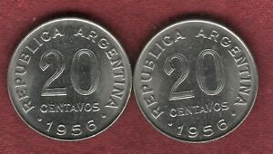 TWO  BU 1956 ARGENTINA 20 CENTAVOS WITH IDENTICAL DOUBLE REVERSE ERRORS