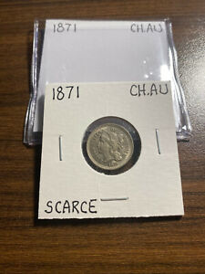 1871 P THREE CENT NICKEL 3CN CHOICE ALMOST UNCIRCULATED  CH.AU