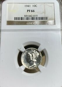 1941 NGC PF66 PROOF MERCURY SILVER DIME
