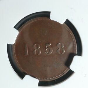 Click now to see the BUY IT NOW Price! NF 3 NGC AU 58 HALFPENNY TOKEN 1858 CANADA NFLD NEWFOUNDLAND SHIP BRETON 954