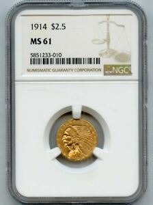 1914 GOLD $2.5 INDIAN HEAD NGC MS 61