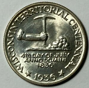 1936 WISCONSIN TERRITORIAL CENTENNIAL UNC COMMEMORATIVE US HALF DOLLAR 50C