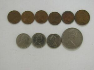 LOT OF 10 DIFFERENT OLD NEW ZEALAND COINS   1967 TO 1987   CIRCULATED