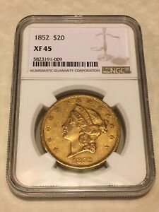 1852 XF45 NGC LIBERTY DOUBLE EAGLE TYPE 1 $20 GOLD COIN SHARP DETAILS  NOT PCGS
