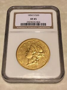 1856 S XF45 NGC LIBERTY DOUBLE EAGLE TYPE 1 $20 GOLD COIN PQ NICE  NOT PCGS